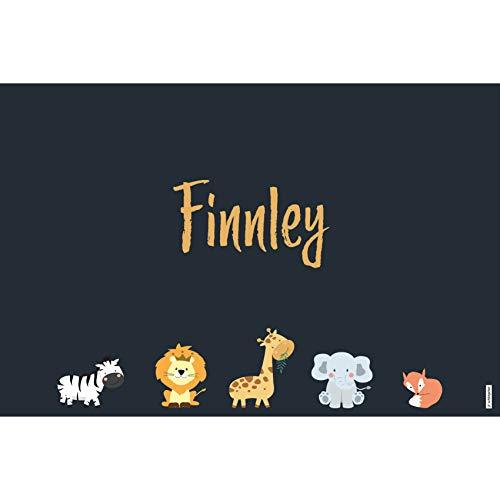 schildgetier Finnley Türschild Namensschild Finnley Geschenk mit Namen und süßen Tier Motiven 30 x 20 cm Dekoschild Schild mit Tieren