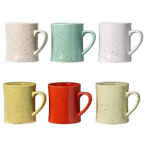 Comfify Keramik Vintage Kaffeetassen - Set von 6 bunten Kaffeetassen - Retro Tassen aus Keramik - Mikrowellen- & spülmaschinenfest - Praktische und dekorative Tassen für Ihre Lieblingsgetränke