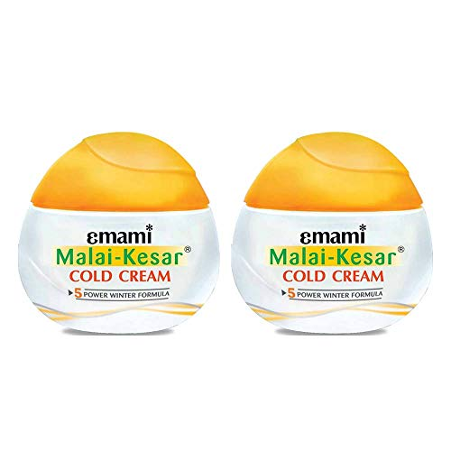 2 X Emami Malai Kesar Cold Cream with Active Herbs Saffron for Double Fairness Cold Cream Pamper Your Skin with Malai Kesar Cold Cream in Winter (30ml