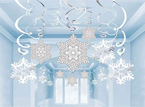 OLES Christmas Snowflake Hanging Swirl Decorations, 30Pcs Assorted Pattern Ceiling Ornaments for Xmas / Winter Wonderland / Holiday Home Party Decor Supplies