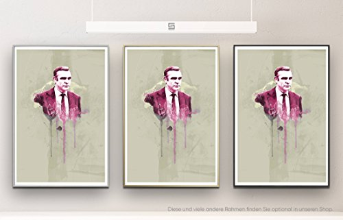 James Bond 90x60cm Paul Sinus Art Splash Art Wandbild als Poster mit Aluwechselrahmen in champagner