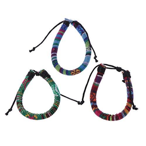 Joocyee - Pulsera de Lino de algodón Tribal étnico de 3 Piezas, joyería de Cuerda de cáñamo Boho Trenzada, Pulsera de Lino y algodón de Estilo étnico, como se Muestra