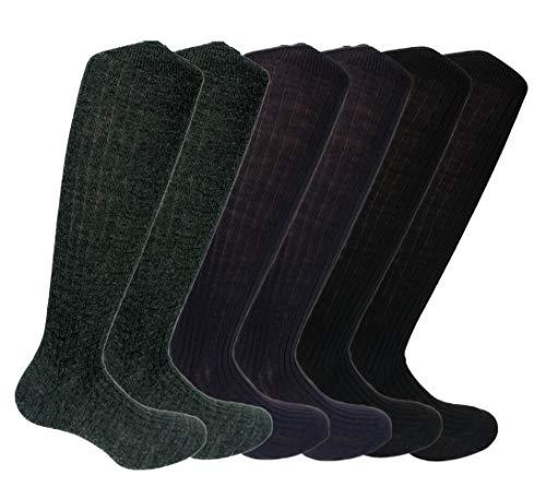 Lucchetti Socks Milano 6 PAIA calze lunghe uomo di LANA a costine MADE IN ITALY (11½12 (43-46, 2 X NERO 2 X ANTRACITE 2 X BLU)
