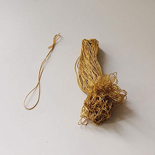 100 elastische Goldkordeln, die goldfarbigen Elastikringe haben ca. 1 mm Durchmesser, etwa 15 cm lang (vom Knoten bis zum Ende)