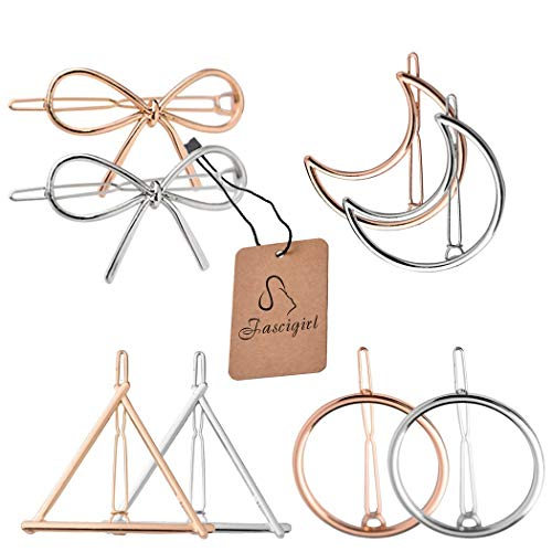 Molletta Capelli,Fascigirl 8 pezzi Hollow Double Triangle Loop Round Moon Bowknot Hairpins Accessori Metallo forcine per capelli per Donne (tondo)