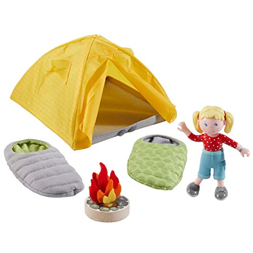 Haba 304749 Little Friends – speelset campinguitstapjes, met omkeerbare slaapzakken, tent, kampvuur en Little Friends meisjes, accessoires voor de Little Friends speelwereld, vanaf 3 jaar