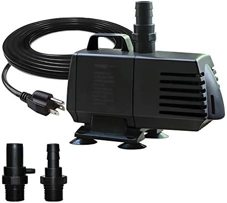 528GPH Submersible Water Pump(2000L/H,25W) with 8.2ft High Lift for Fountain, Pond, Hydroponics, Waterfall, Statuary, Fish Tank & Inline (528GPH Power cord:9.2ft)