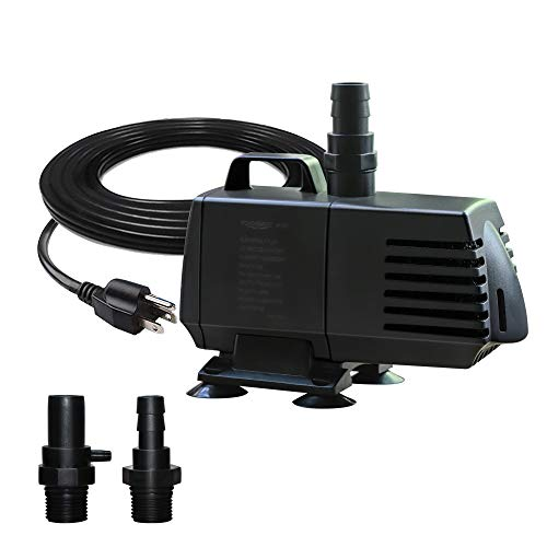 PONDFORSE 1056GPH Submersible Water Pump(4000L/H,95W) with 14ft High Lift/Power Cord 15 ft for Fountain, Pond, Hydroponics, Waterfall, Statuary, Fish Tank & Inline (1056GPH Pro)
