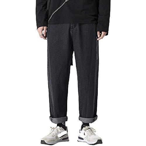 Pantalones Vaqueros para Hombre Primavera y Verano Nueva Tendencia Vaqueros de Moda Streetwear Hip-Hop Pantalones Rectos Sueltos de 9 Puntos 31W