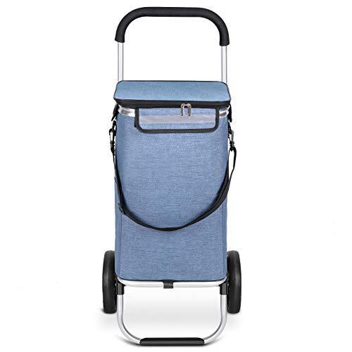 mfavourCarrito de Compras,Carro Compra Estable,Carrito Compra Plegable Push/Pull, Carrito de Compras 2 Ruedas con Bolsa Oxford Desmontable Impermeable, 45 l, Azul