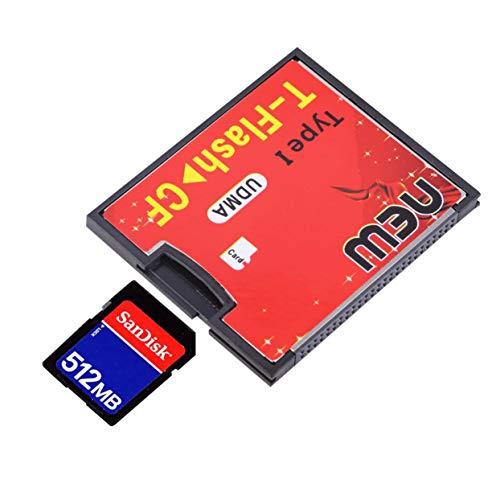 Tree-on-Life Rojo y Negro 4,3 x 3,5 x 0,4 cm Equipado con un Conector Push-Push T-Flash a CF Tipo 1 Tarjeta de Memoria Compact Flash Adaptador UDMA de hasta 64 GB