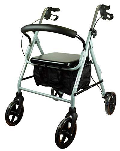 Mobiclinic, Sofía, Rollator con 4 ruedas, andador para ancianos y minusválidos, ayuda para caminar, andador caminador, aluminio, ligero, plegable, cesta de tela, freno en manetas, asiento, Gris