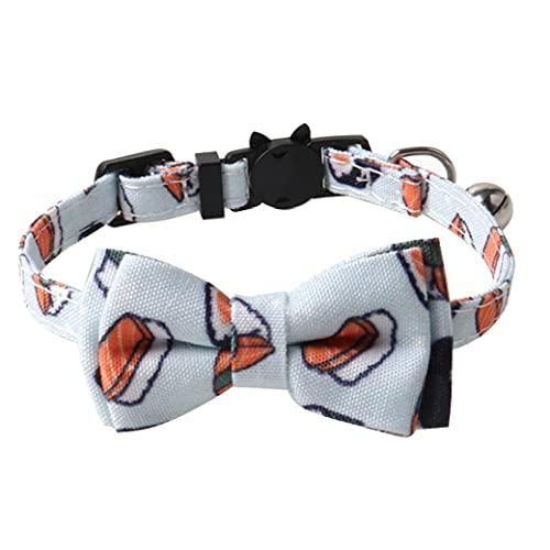 Runfon Collar del Gato Corbata rápida liberación Arco con Bell de Seguridad de Ajuste rápido Bola de arroz Impreso para Kitten Perro