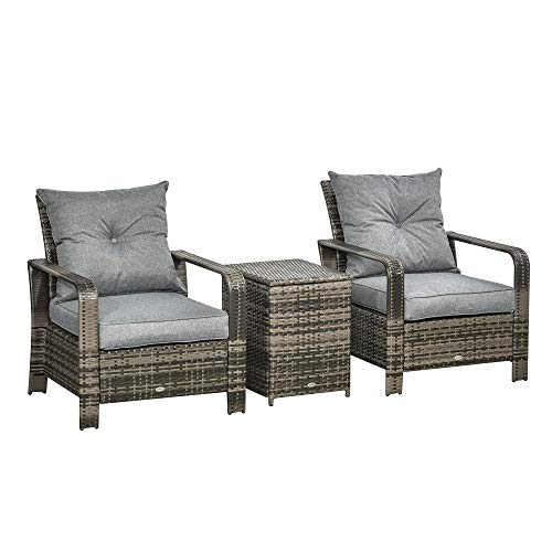 Outsunny 3 pcs PE Rattan Wicker Garden Furniture Patio Bistro Set Weave Conservatory Sofa Storage Table and Chairs Set Grey Cushion & Wicker