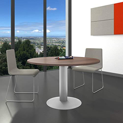 Optima runder Besprechungstisch Ø 120 cm Nussbaum Silbernes Gestell Tisch Esstisch