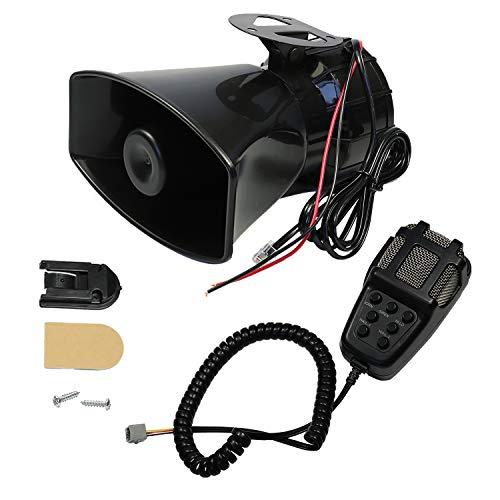 CARMOCAR Car Siren Horn 7 Tone Sound Siren Police Mic PA Speaker Car System Emergency with Microphone Amplifier-100W Emergency Sound Electric Horn-12V