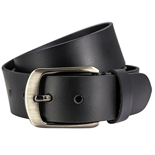 Lindenmann Mens Leather Belt/Mens Belt, leather belt XL, black, Größe/Size:100, Farbe/Color:noir