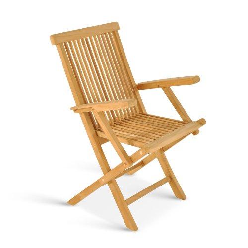 SAM Gartenstuhl Mallorca, Teakholz massiv, Klappstuhl mit Armlehnen, Stuhl für Garten oder Balkon