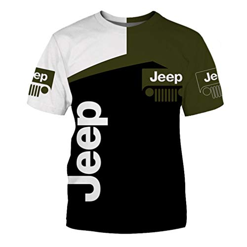 Maglia Manica Corta Girocollo Estiva da Uomo Maglietta Stampata Casual in 3D con Logo Jeep Stampato Ad Asciugatura Rapida (1,XXL)