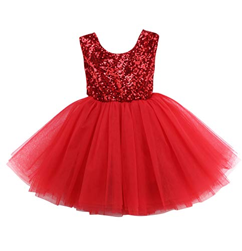 Loalirando Neugeborenen Baby Mädchen Festlich Weihnachten Kleidung Pailetten Samt Party Prinzessin Kleid (18-24 Monate, Tutu Kleid)