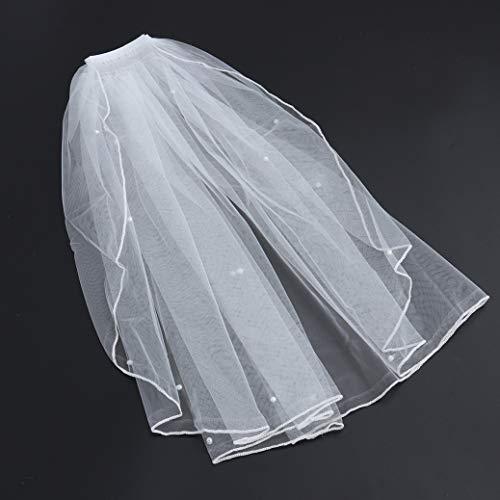 Wilk Romantische Brautschleier Brauen Tüll-Schleier mit Kamm-Band und Perlen für die Braut Blumen-Mädchen Romantische Hochzeit
