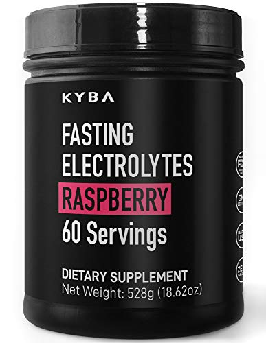 KYBA Fasting Electrolyte Powder Keto Salt Supplement - Zero Calories, No Artificial Sweeteners or Flavors - No Maltodextrin - 60 Servings Raspberry Flavor - Sodium Potassium Magnesium - Made in USA