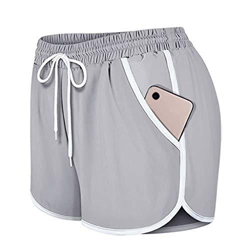 MOKINGTOP Women's Running Shorts Elastic High Waisted Shorts Pocket Sporty Workout Shorts Athletic Shorts Pants Gray