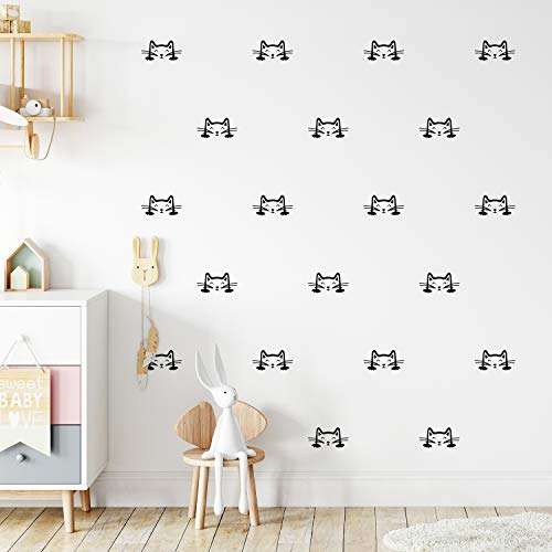 Set of 24 Vinyl Wall Art Decal - Cat Faces Pattern - from 3' x 6' Each - Cute Kitty Adhesive Stickers for Bedroom Kids Room Playroom Home School Classroom Cats Decor (Black)