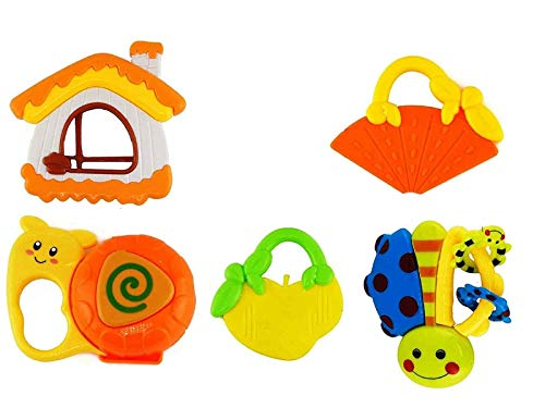 FunBlast Rattles and Teether for Babies, Set of 5 Pcs - Colourful Lovely Attractive Rattles Toys for Kids New Born, Toddlers, Infants & Children