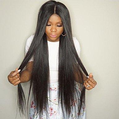 Gzhuang Hot longue Soie droite Perruque lace front 8–76,2 cm Couleur naturelle Noir Cheveux brésiliens Perruques avec cheveux de bébé pour femme, petite