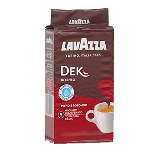 Lavazza Dek Intenso - Caffè Decaffeinato Macinato per Macchina Espresso e Moka - Arabica e Robusta - Gusto Ricco e Persistente - Note Legno e Tabacco - Intensità 5 - Tostatura Intenso - 250 g