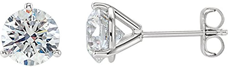IGI Certified Near 3/4 Carat Natural Round Brilliant Solitaire Diamond Stud Earrings for Women - 14K White Gold 3 Prong Martini with Push Backs (H-I Color, I1-I2 Clarity)
