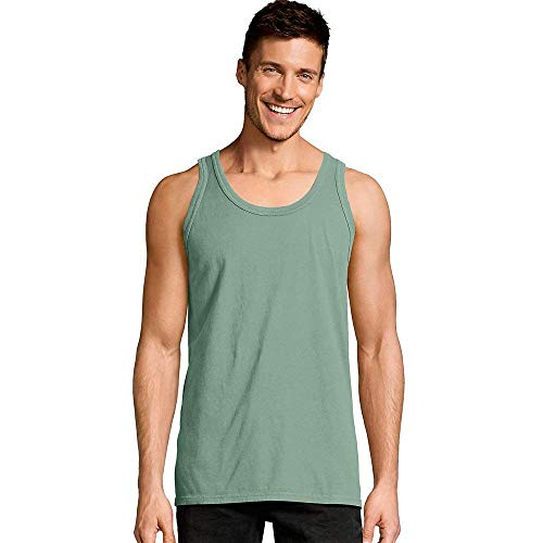 Hanes Men's ComfortWash Garment Dyed Sleeveless Tank Top (Cypress Green - XL)