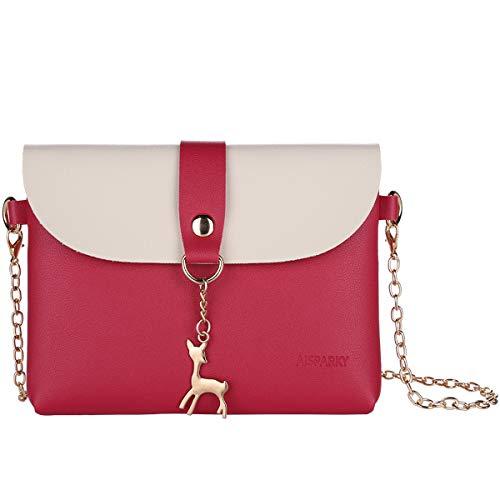 Lanling Kleine Crossbody Geldbörse für Frauen,Leder Umhängetasche Hirsch Crossbody Frauen Handtasche kleine Geldbörse Telefon Tasche für Mädchen (Rose Rot-Gold Chain)
