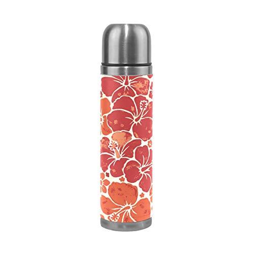Ahomy Edelstahl-Thermosflasche mit Hawaiianischer Blume, Vakuum-isoliert, auslaufsicher, Reisebecher, 500 ml