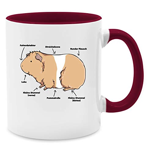 Tasse mit Spruch - Meerschwein Anatomie - Unisize - Bordeauxrot - meerschweinchen sprüche - Q9061 - Kaffee-Tasse inkl. Geschenk-Verpackung