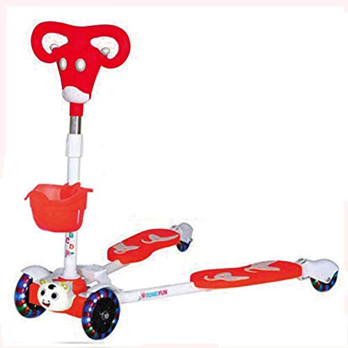 Stainless Steel Tri Scooters Kids with 4 LED Wheels,Red Calf Pattern Foldable Style Scooter for Boys and Girls Age 5 Years Old and Up