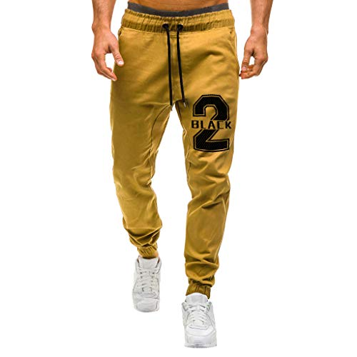 beautyjourney Pantalones Deportivos Casuales para Hombres Pantalones Tipo Cargo Pantalones de Corte Slim Estampados Pantalones de chándal para Correr al Aire Libre con Cintura elástica