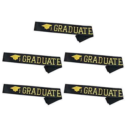 TENDYCOCO 5 Stücke Graduation Schultergurt Stilvolle Party Etikette Gürtel Schärpe Graduate Decor Schärpe für Party (Schwarz Und Gloden)