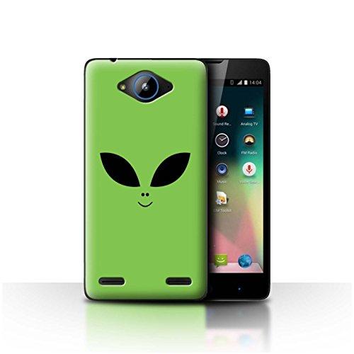 Stuff4 Hülle/Hülle für ZTE Blade L3 Plus/Grün Muster/Außerirdisches Gesicht Kollektion