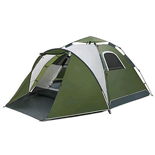 HUOFEIKE Compact Camping Tent with Awning 3-4 Man Tent,Tunnel Tent Light Trekking And Waterproof Also Ideal for Camping in The Garden Beach Hiking,Green