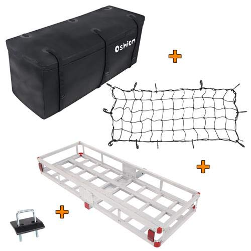 "TUFFIOM Aluminum Hitch Mount Cargo Carrier, Luggage Rack w/Waterproof Cargo Bag, Net & Stabilizer, 60""L x 22""W x 7""H, 500lbs Weight Capacity, for Car SUV Truck"
