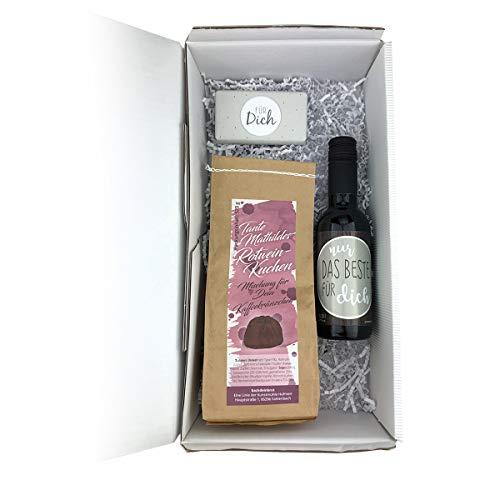 Geschenkbox 'verschieden Backmischungen' Prosecco-Brot/Rotweinkuchen/Bierbrot, Anzahl:1er Einzel, Brotbackmischung:Rotweinkuchen