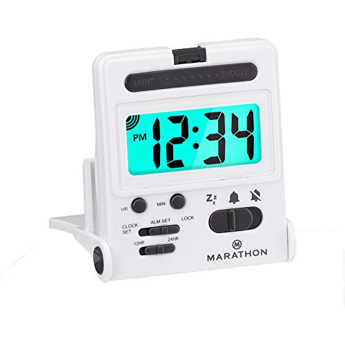 Marathon Basics Travel Alarm Clock, Easy to use, Easy to Set, Perfect for Camping - Battery Included - CL030010 (White)