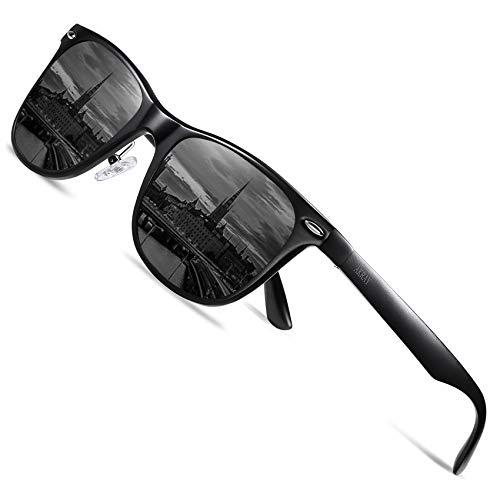 AKRAY Retro Sonnenbrille Herren polarisiert Premium Metalllegierung Rahmen Fahrerbrille UV400 Schutz 8559 (Schwarz)