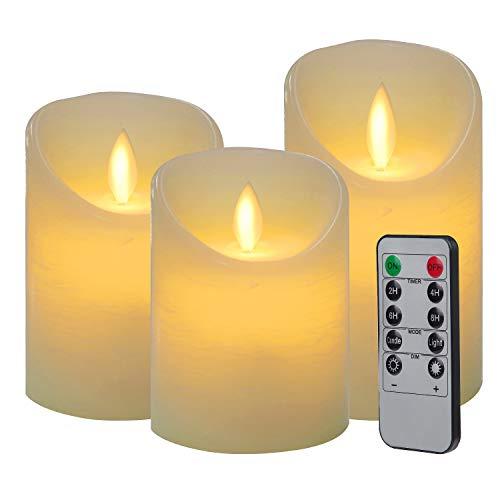 CPROSP 3er LED Kerzen Flammenlose Kerzen mit Fernbedienung mit 10 Tasten (Timer 2/4/6/8 H, 2 Mode, Dimmbar), 7,5x10/12,5/15cm, Dekoration für Weihnachten, Ostern, Hochzeit, Party, Weiß