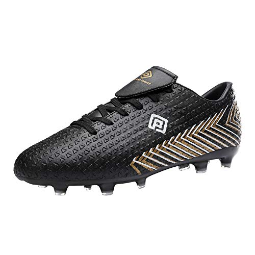 DREAM PAIRS Men's Black Gold Lace Up Firm Ground Soccer...