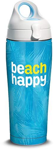 Tervis 1344638 30A Beach Happy Palms Isolierter Edelstahlbecher mit weißem und blauem Deckel, edelstahl, silber