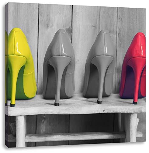 Pixxprint High Heels auf Hocker schwarz/weiß, Format: 40x40 auf Leinwand