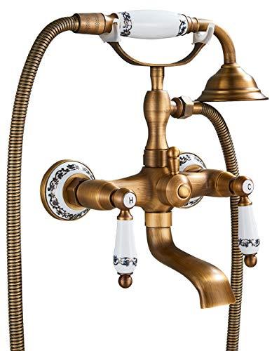 Rozin - Supporto da parete per vasca da bagno, rubinetto con doccetta, due manici, in ottone, design vintage in ceramica